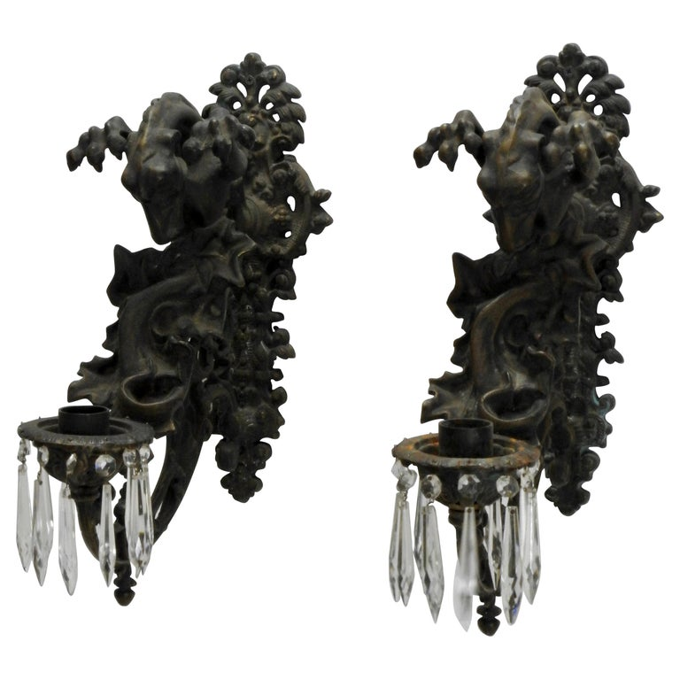 Italian Bronze Gothic Candle Sconces, Pair For Sale