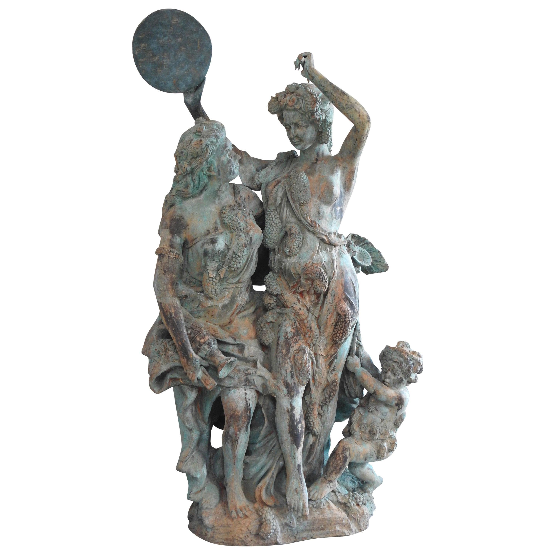 Italian Bronze Harvest of Grapes Celebration Art Deco
