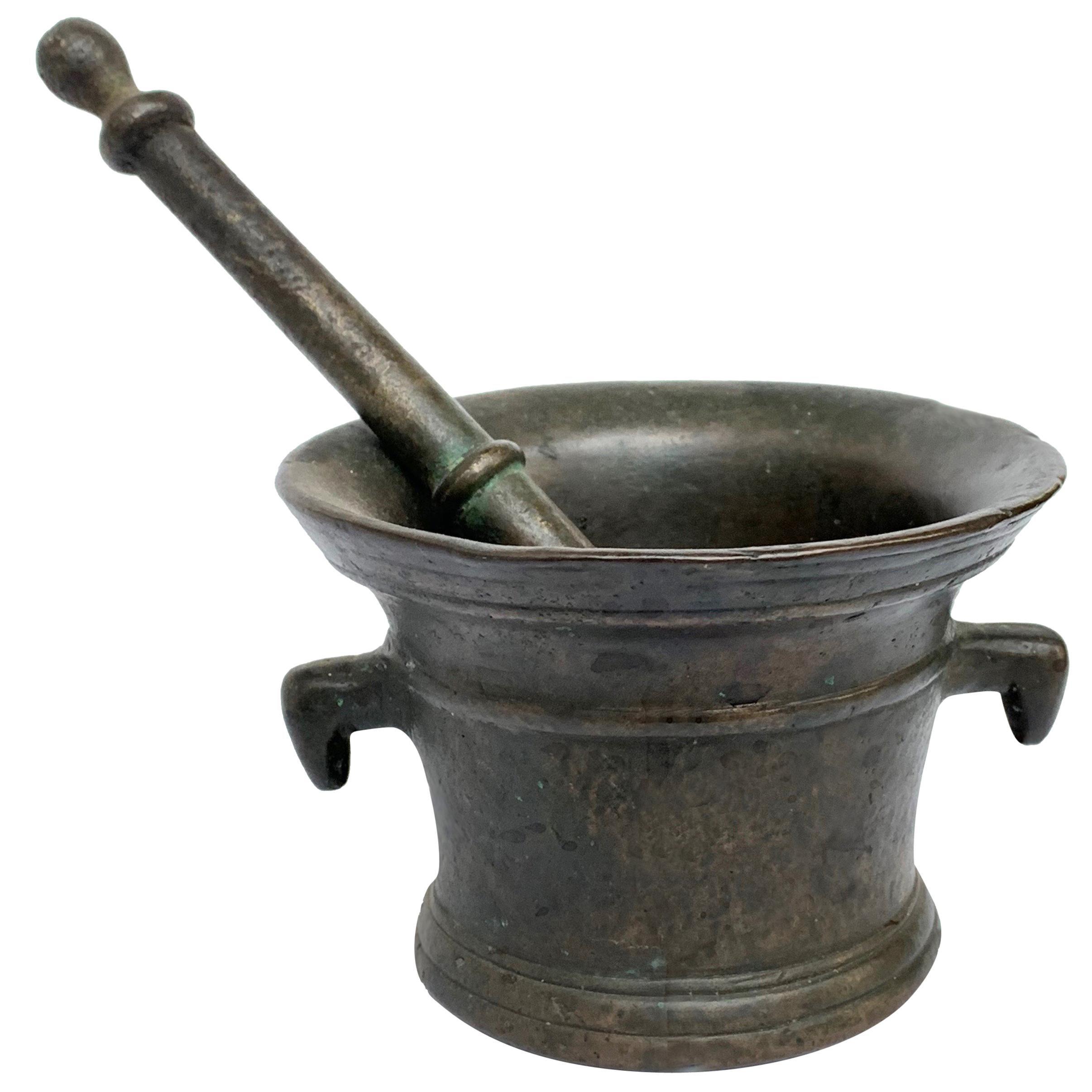 Italian Bronze Mortar and Pestle, Original Patina, Italy, Pharmacy or Herbalist