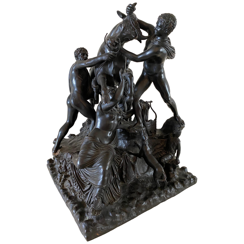 Italian Bronze Sculpture Group of the Farnese Bull, 19th Century