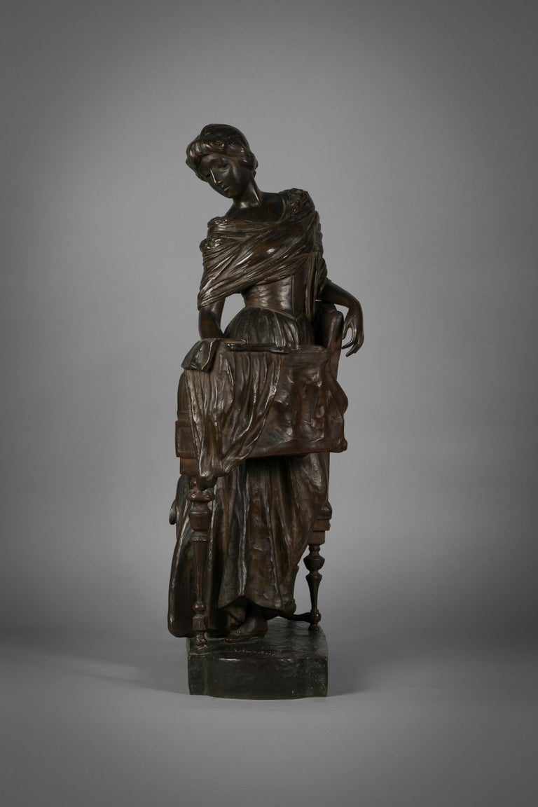 Early 20th Century Italian Bronze Sculpture of Woman Playing a Pianoforte, Signed Saverid Sortini For Sale