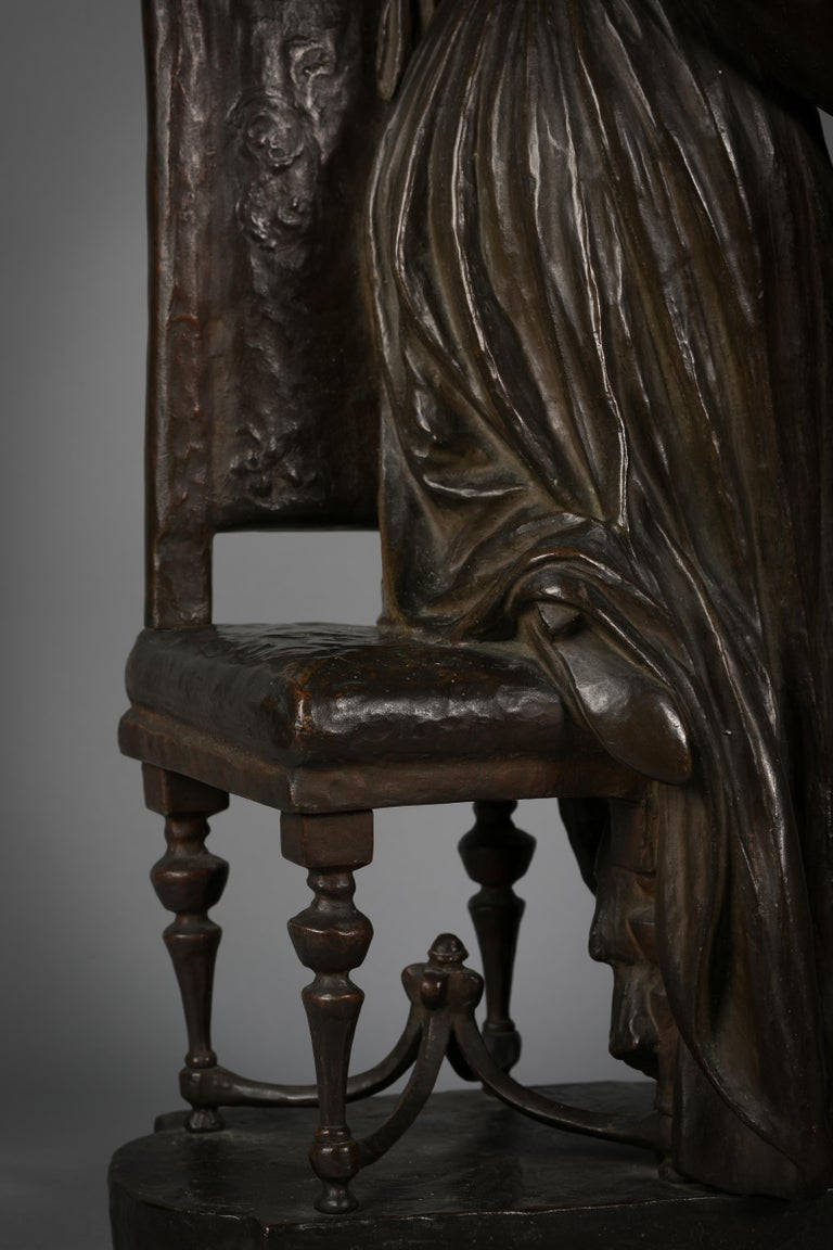 Italian Bronze Sculpture of Woman Playing a Pianoforte, Signed Saverid Sortini For Sale 4