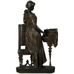 Italian Bronze Sculpture of Woman Playing a Pianoforte, Signed Saverid Sortini
