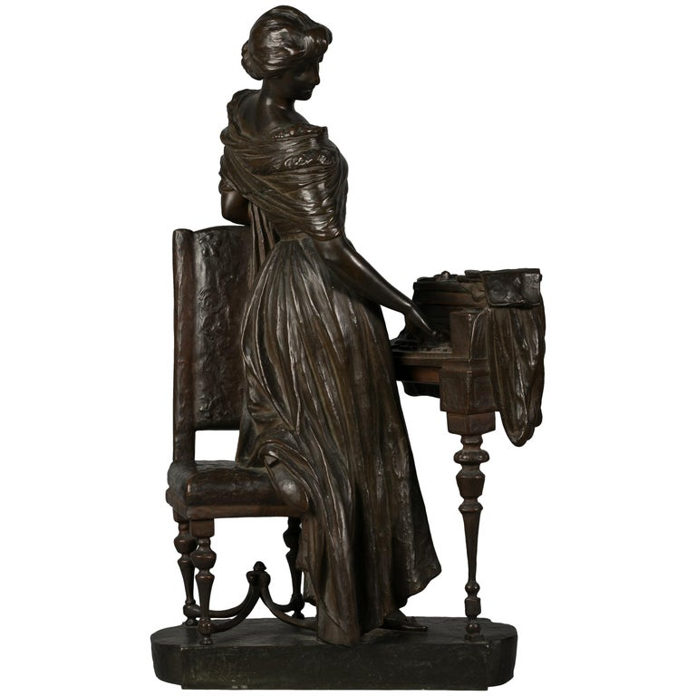 Italian Bronze Sculpture of Woman Playing a Pianoforte, Signed Saverid Sortini For Sale