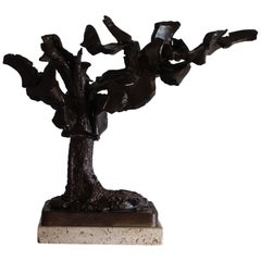 Italian Bronze Sculpture on Travertine Base, Signed CZ 1962
