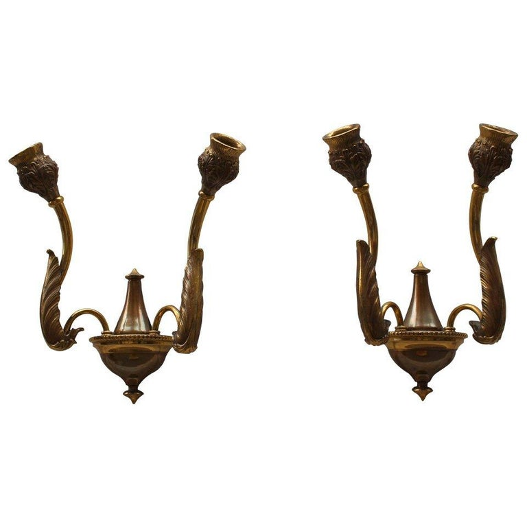 Italian Bronze Wall Sconces For Sale