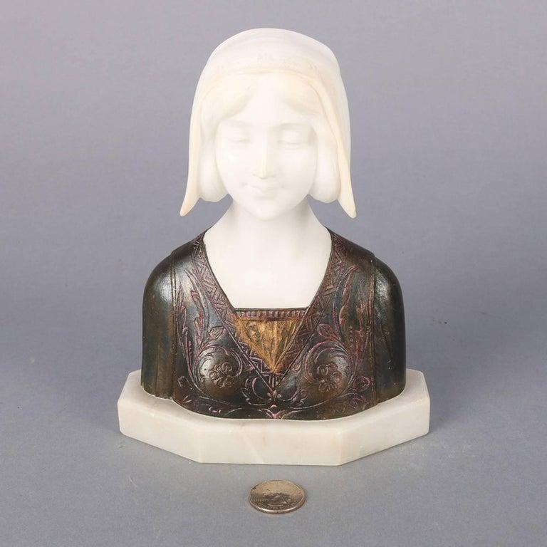 Italian Bronzed And Alabaster Portrait Sculpture Dante S