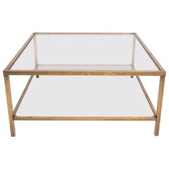 Italian Bronzed Frame Two Level Glass Top Coffee Table, 1970s
