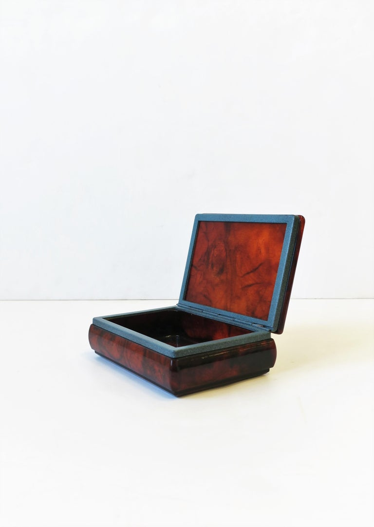 Italian Brown and Blue Alabaster Marble Jewelry Box In Good Condition For Sale In New York, NY