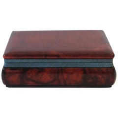 Italian Brown and Blue Alabaster Marble Jewelry Box