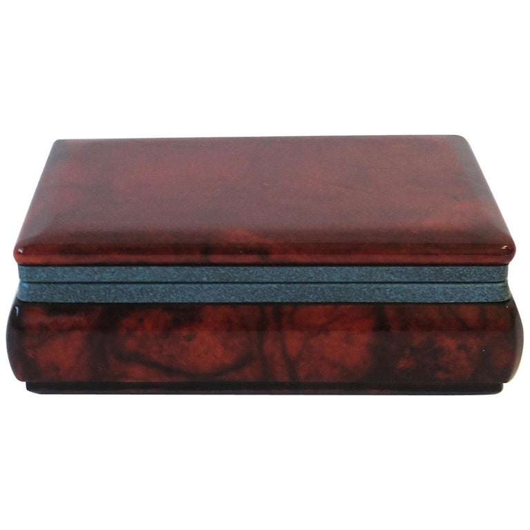 Italian Brown and Blue Alabaster Marble Jewelry Box For Sale