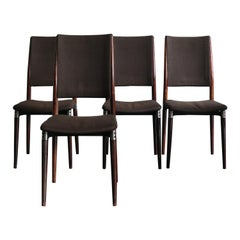 Italian Brown Dining Chairs by Eugenio Gerli for Tecno Model S81, 1950s