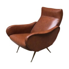 Italian Brown Leather Armchair, Lady Style, 1960s