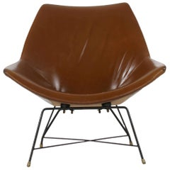 Italian Brown Leather Kosmos Chair Design by Augusto Bozzi for Saporiti, 1954
