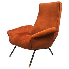 Italian Brown Velvet Armchair, 1950s