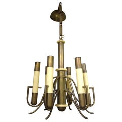 Italian Brutalist Brass and Bakelite Chandelier by Nucleo Forme