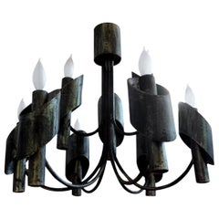 Italian Brutalist Steel Chandelier in the Style of Sciolari