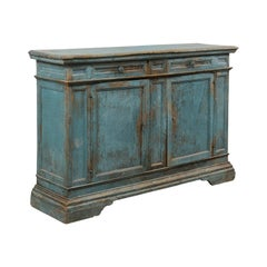 A 19th Century Italian Console Storage Cabinet, in Beautiful Blue Color