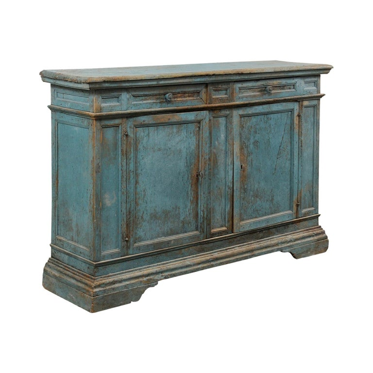 A 19th Century Italian Console Storage Cabinet, in Beautiful Blue Color For Sale