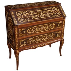 Italian Bureau Inlaid in Palisander, Maple, Mahogany, Fruitwood, 20th Century
