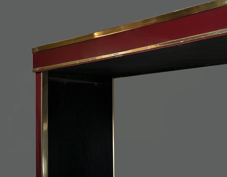 Modern Italian Burgundy Lacquered and Brass Console Table, 1980s