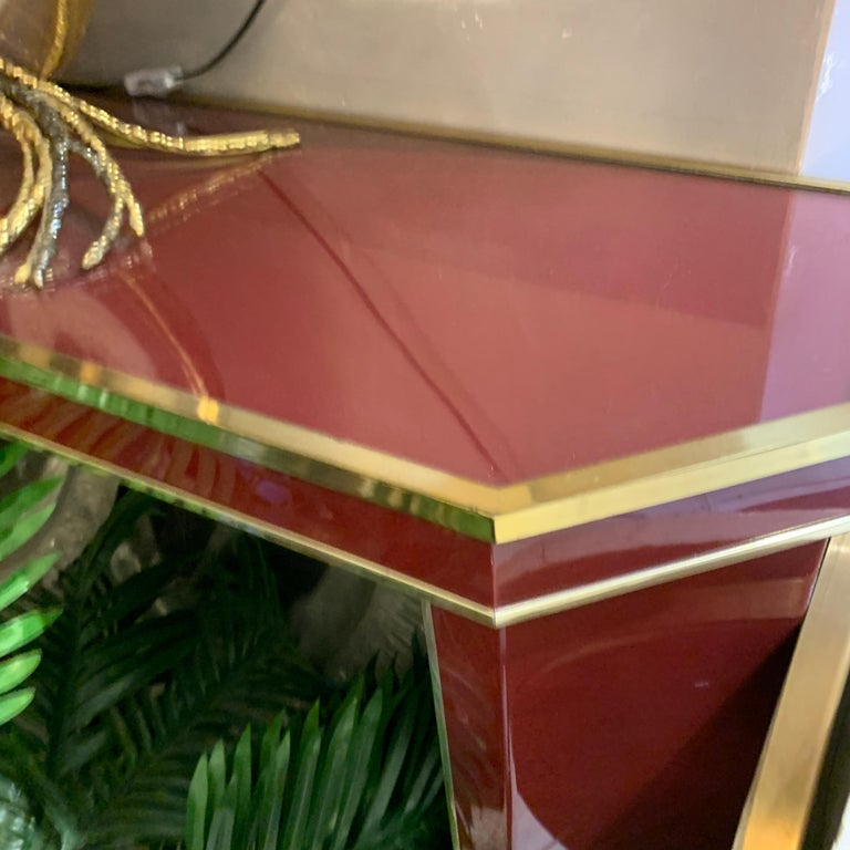 Late 20th Century Italian Burgundy Lacquered and Brass Console Table, 1980s