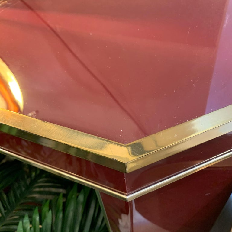 Italian Burgundy Lacquered and Brass Console Table, 1980s 1