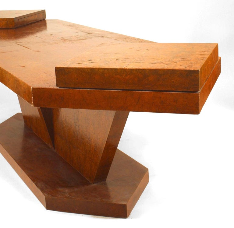 Italian 1950s burl birch rectangular conference table with an angular pedestal and base with two raised drawers on either end, attributed to Carlo De Carli, Renato Angeli, & Luigi Olivieri, circa 1940