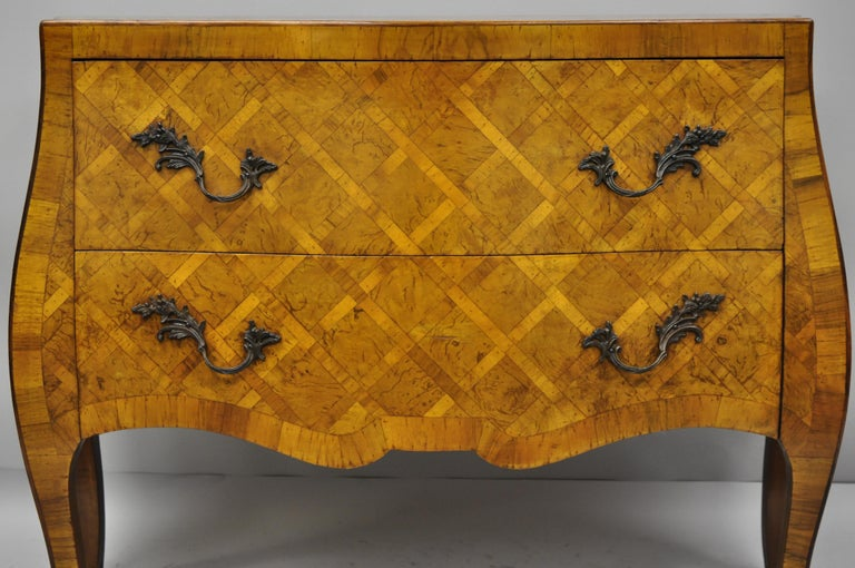 Louis XV Italian Burl Olive Wood Parquetry Inlaid French Style Bombe Commode Chest For Sale