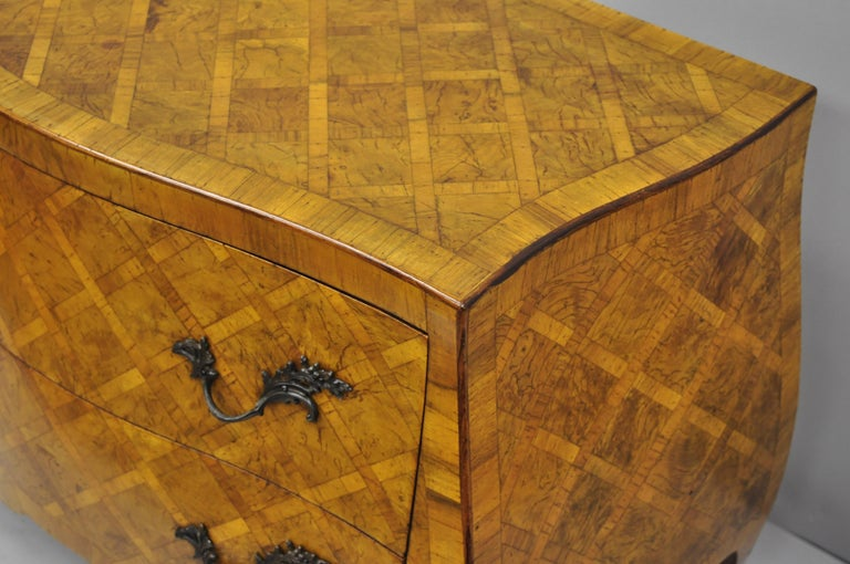 20th Century Italian Burl Olive Wood Parquetry Inlaid French Style Bombe Commode Chest For Sale