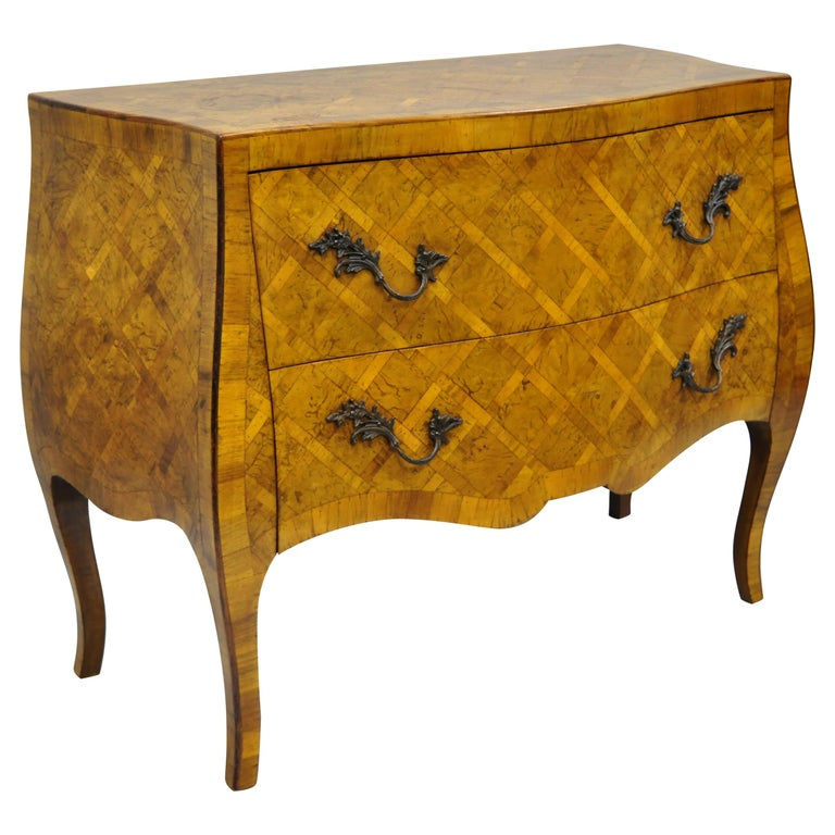 Italian Burl Olive Wood Parquetry Inlaid French Style Bombe Commode Chest For Sale