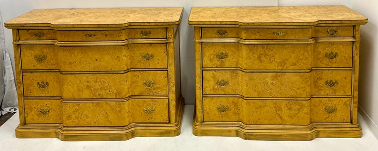 Italian Burl Pair of 1970s Neoclassical Style Italian Burl Cabinets / Chests In Good Condition For Sale In Kennesaw, GA