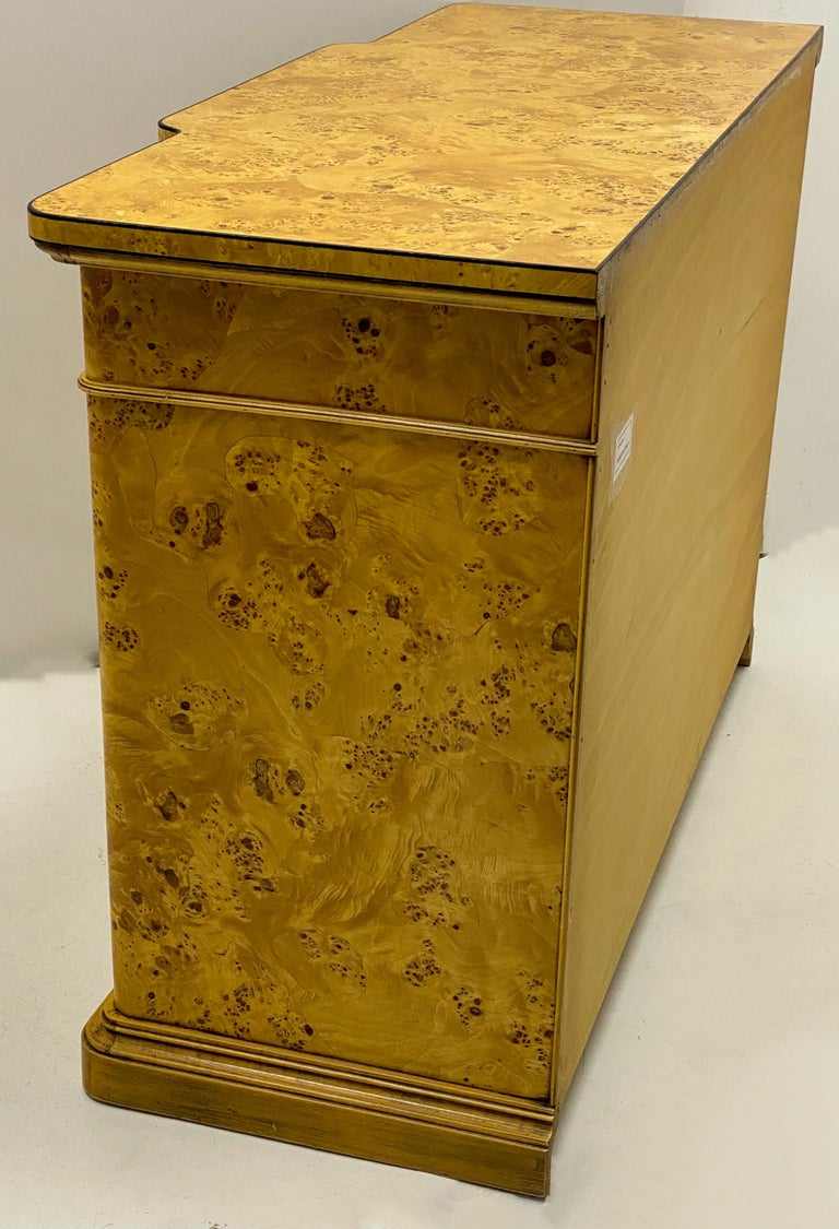 Italian Burl Pair of 1970s Neoclassical Style Italian Burl Cabinets / Chests For Sale 1