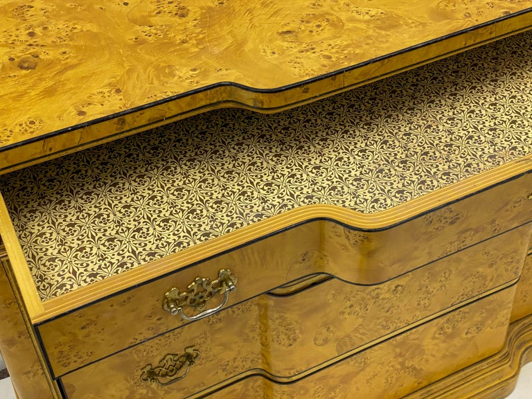 Italian Burl Pair of 1970s Neoclassical Style Italian Burl Cabinets / Chests For Sale 2