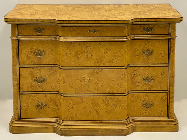 Italian Burl Pair of 1970s Neoclassical Style Italian Burl Cabinets / Chests For Sale 4