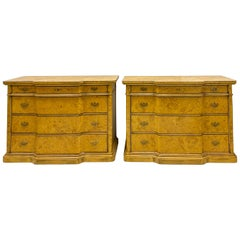 Italian Burl Pair of 1970s Neoclassical Style Italian Burl Cabinets / Chests