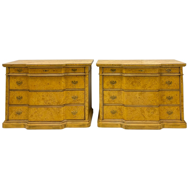 Italian Burl Pair of 1970s Neoclassical Style Italian Burl Cabinets / Chests For Sale