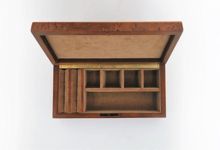 Late 20th Century Italian Burl Wood Jewelry Box For Sale