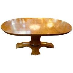 Italian Burl Wood Oval Center Table or Dining Table Gaetano Borsani Attributed