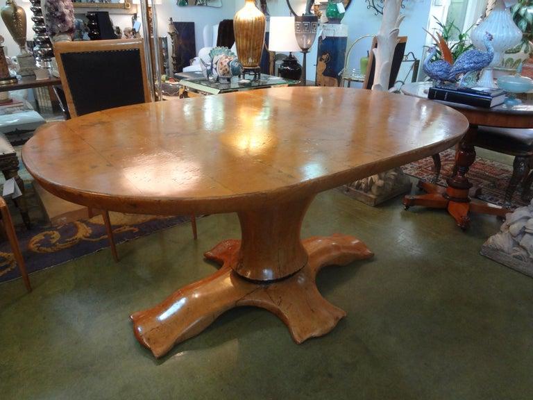 Italian Burl Wood Oval Center Table or Dining Table Osvaldo Borsani Attributed For Sale 4
