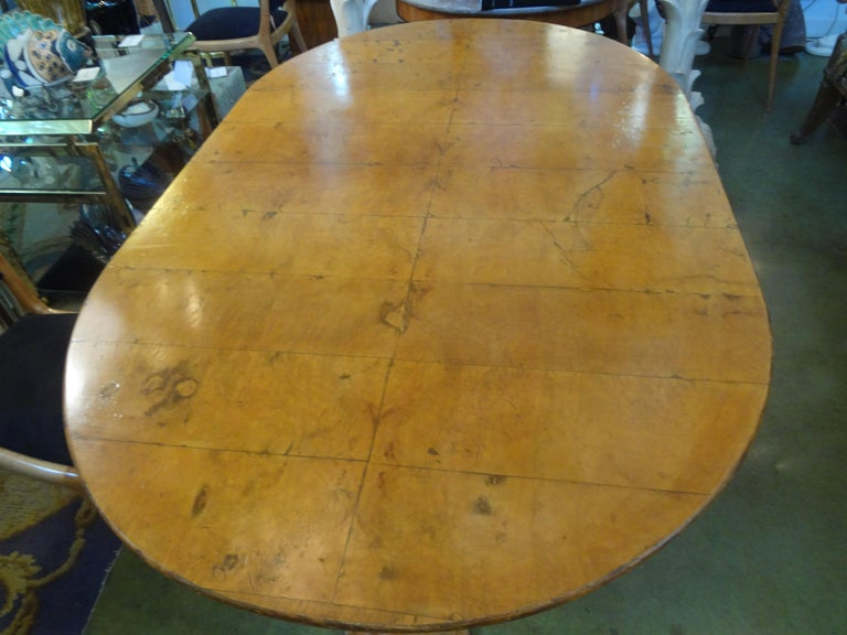 Olive Italian Burl Wood Oval Center Table or Dining Table Osvaldo Borsani Attributed For Sale