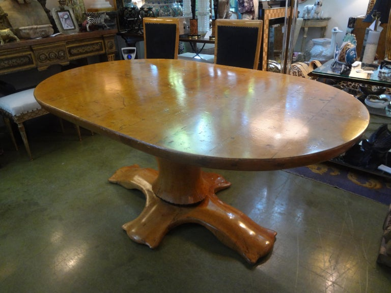 Italian Burl Wood Oval Center Table or Dining Table Osvaldo Borsani Attributed For Sale 1