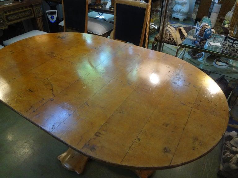 Italian Burl Wood Oval Center Table or Dining Table Osvaldo Borsani Attributed For Sale 2