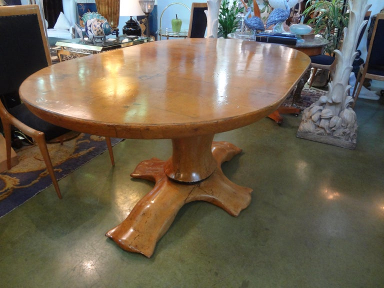 Italian Burl Wood Oval Center Table or Dining Table Osvaldo Borsani Attributed For Sale 3