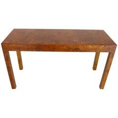 Italian Burl Wood Patch Veneer Work Console Sofa Table