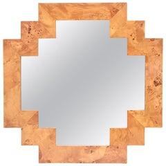 Italian Burled Elmwood Geometric Mirror