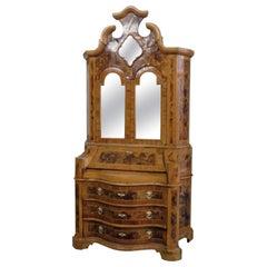 Italian Burled Olivewood Secretary Desk with Bookcase Top, circa 1820s Era