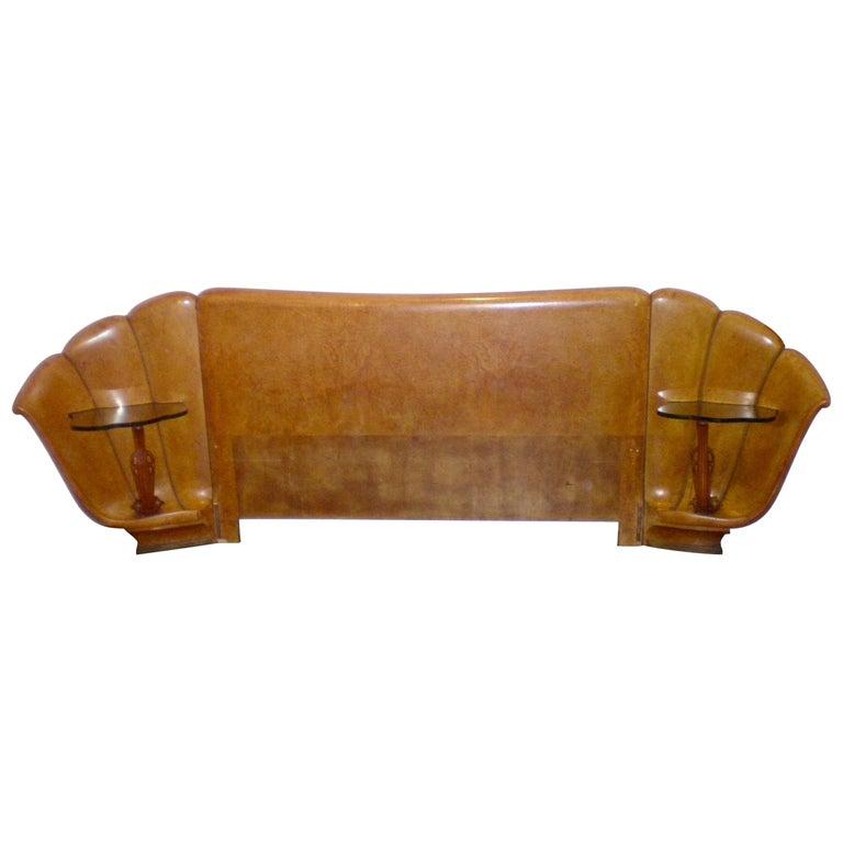 Italian Burled Walnut Art Deco Headboard with Shell Shaped Nightstands, 1920s For Sale