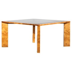 Italian Burlwood Dining Table Willy Rizzo Style 1970s Vintage Glass