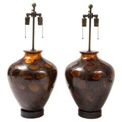 Italian Burnt Orange Ceramic Lamps